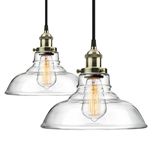 Leonlite 3 Pack Industrial Pendant Lighting For Kitchen: 2-Pack Pendant Light Hanging Glass Ceiling Mounted