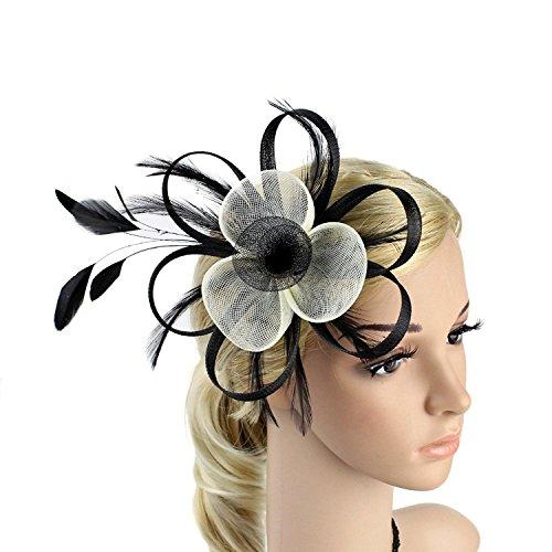 1d7be69537f Merya Dress 2 Tone Cocktail Fascinators Kentucky Derby Fascinator Hats Tea  Party Prom Fascinators Black-White. Swirl bow fascinator hat ...
